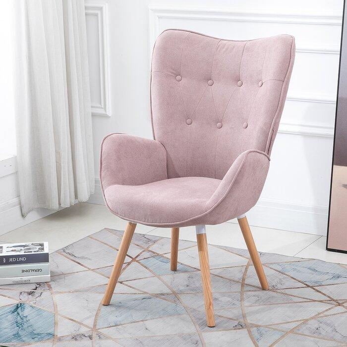 Channel Courtright Armchair in pink velvet