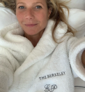 """<p><strong>Location:</strong> London, UK</p> <p>Gwyneth Paltrow kicked up her feet — and took a selfie — while staying in the Pavilion Suite at <a href=""""https://www.the-berkeley.co.uk/"""" rel=""""nofollow noopener"""" target=""""_blank"""" data-ylk=""""slk:this posh London spot"""" class=""""link rapid-noclick-resp"""">this posh London spot</a>. """"Home away from home,"""" she captioned an Instagram picture showing off her fresh face and a fuzzy hotel robe. Situated near Hyde Park, The Berkeley offers residential-style suites, perfect for entertaining or an urban retreat.</p>"""