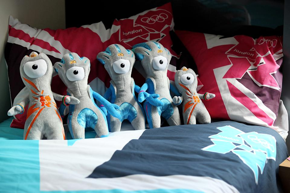 Wenlock and Mandeville, soft toy mascots for the London 2012 Olympic Games, are placed on a London 2012 bedspread at the launch of the London Olympic Games official merchandise on July 30, 2010 in London, England. (Photo by Oli Scarff/Getty Images)