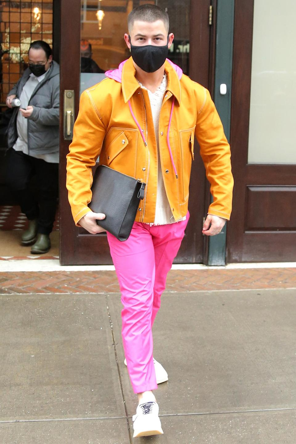 <p>Nick Jonas wore a colorful outfit on his way to host and perform on <em>Saturday Night Live</em> in New York City.</p>