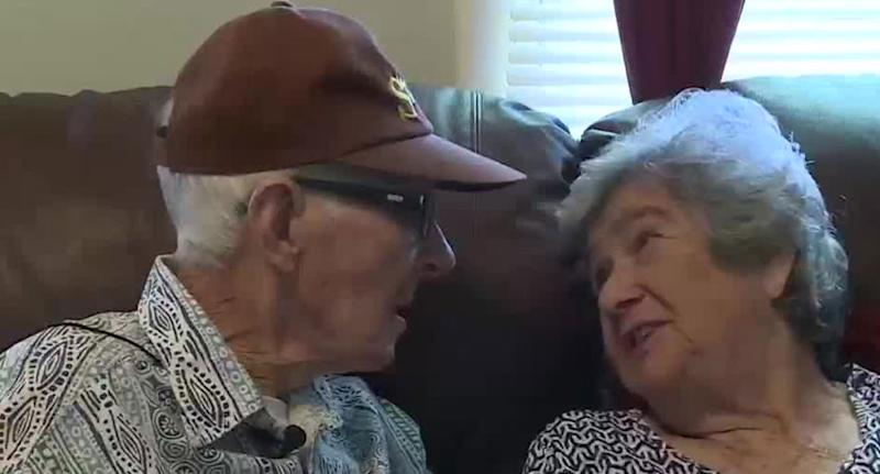 Mr and Mrs Delaigle pictured gazing at each other. They died in Georgia, US, on Friday after 70 years of marriage.