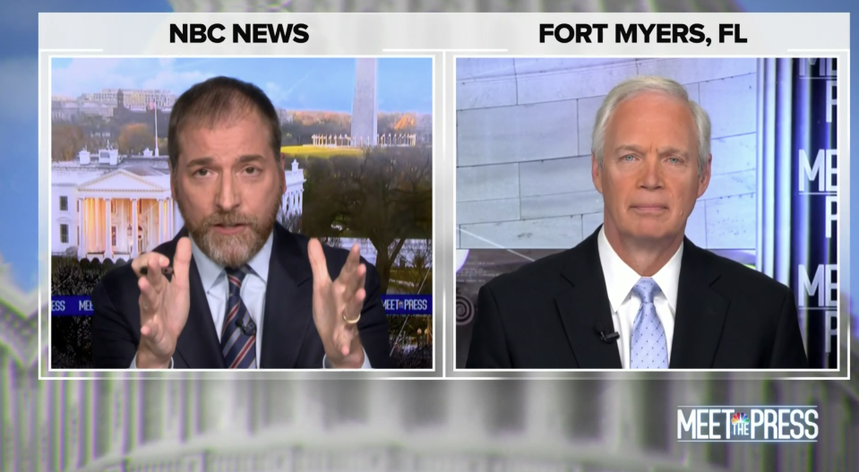 """Meet the Press"" moderator Chuck Todd interviews Sen. Ron Johnson. (Screenshot: NBC)"