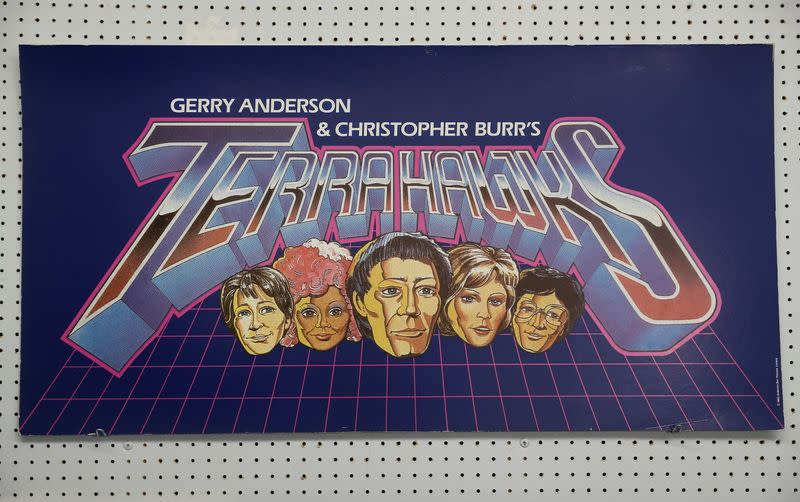 An original title board from Gerry Anderson and Christopher Burr's Terrahawks is seen at Ewbank's Auctioneers, ahead of a sale at their showroom in Woking