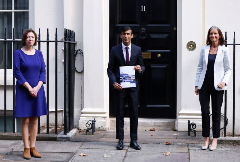 Britain's Chancellor of the Exchequer Rishi Sunak, Frances O'Grady, General Secretary of the TUC and Dame Carolyn Fairbairn are seen at Downing Street in London