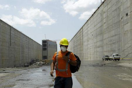 A worker is seen at the Panama Canal expansion project site in Panama City March 24, 2015. REUTERS/Carlos Jasso