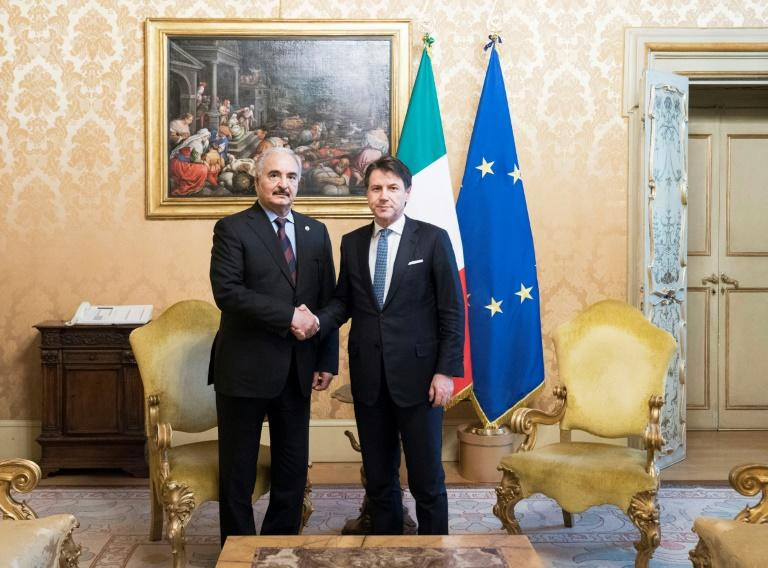 Italy's Prime Minister Giuseppe Conte (R) met Libyan military strongman Khalifa Haftar in Rome as part of Europe's accelerating diplomatic efforts