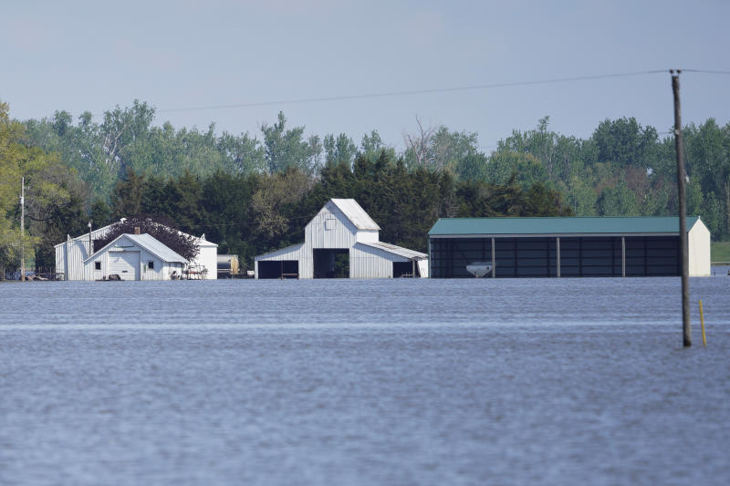 In this May 10, 2019 photo, farm buildings belonging to Brett Adams are surrounded by flood waters, in Peru, Neb. Adams had thousands of acres under water, about 80 percent of his land, this year. It split open his grain bins and submerged his parents' house and other buildings when the levee protecting the farm broke. (AP Photo/Nati Harnik)