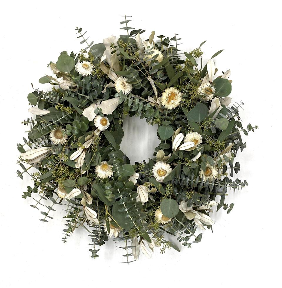 """<p>creeksidefarms.com</p><p><strong>$69.95</strong></p><p><a href=""""https://www.creeksidefarms.com/collections/wreaths/products/eucalyptus-pearl-wreath"""" rel=""""nofollow noopener"""" target=""""_blank"""" data-ylk=""""slk:Shop Now"""" class=""""link rapid-noclick-resp"""">Shop Now</a></p><p>Traditional white strawflowers pair beautifully with a modern eucalyptus design from <a href=""""https://www.creeksidefarms.com/"""" rel=""""nofollow noopener"""" target=""""_blank"""" data-ylk=""""slk:Creekside Farms."""" class=""""link rapid-noclick-resp"""">Creekside Farms.</a></p>"""