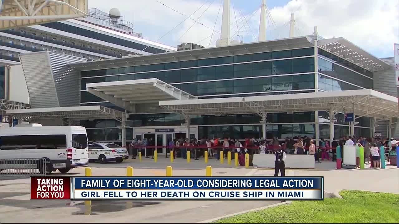 An 8-year-old girl died Saturday after falling from a cruise ship's interior atrium to a lower deck, the Miami-Dade Police Department said.