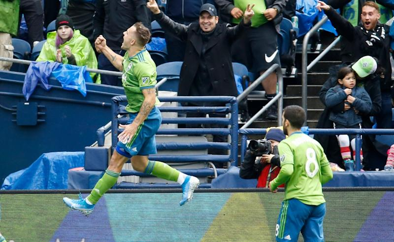 Seattle Sounders forward Jordan Morris was all smiles after his hat trick helped beat FC Dallas in the first round of the MLS Cup playoffs. (Joe Nicholson/USA Today)