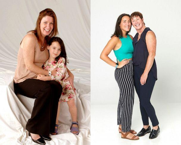 PHOTO: A 2006 photo of Patti Quigley and Leah Quigley pictured alongside a 2021 photo. (ABC)