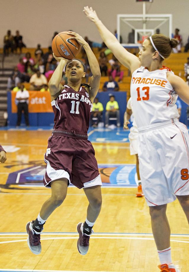 Texas A&M's Curtyce Knox, left, aims for the basket as Syracuse's Brianna Butler defends during the first half of an NCAA college basketball game in St. Thomas, U.S. Virgin Islands, Saturday, Nov. 30, 2013. (AP Photo/Thomas Layer)