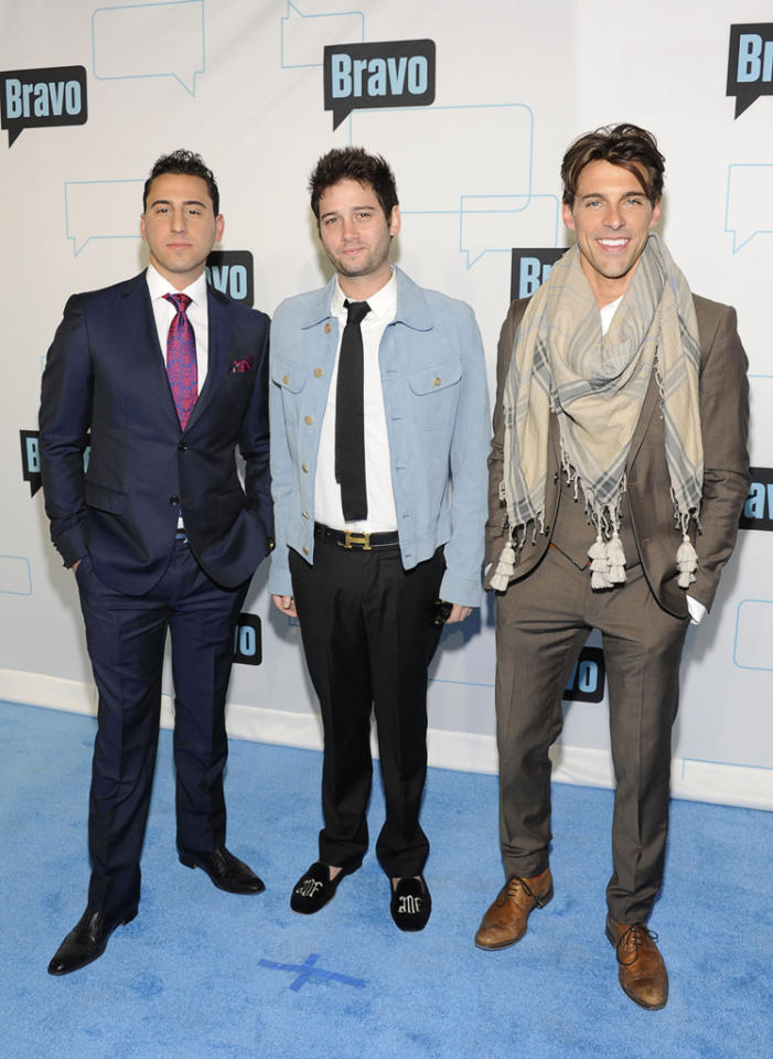 Josh Altman, Josh Flagg, and Madison Hildebrand attend Bravo's 2012 Upfront Event at Center 548 on April 4, 2012 in New York City.