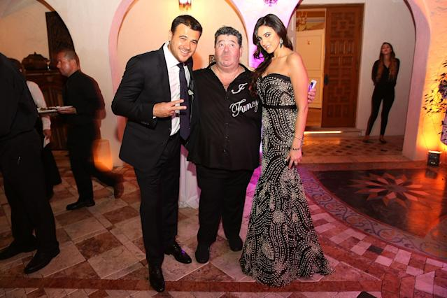Emin Agalarov, Rob Goldstone, and Sheila Agalarova at a party in Miami Beach in 2014. (Photo: Getty Images).
