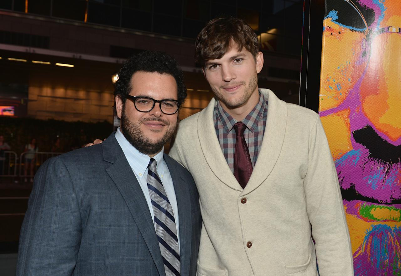 "LOS ANGELES, CA - AUGUST 13: Actors Josh Gad and Ashton Kutcher attend the screening Of Open Road Films And Five Star Feature Films' ""Jobs"" at Regal Cinemas L.A. Live on August 13, 2013 in Los Angeles, California. (Photo by Alberto E. Rodriguez/Getty Images)"