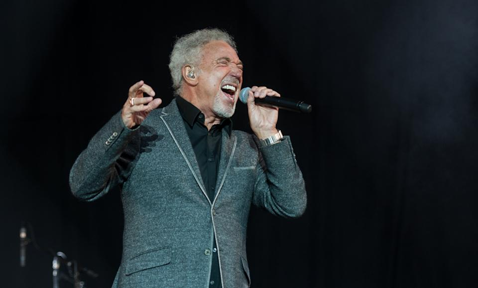 Sir Tom Jones performing live on stage on day 2 of V Festival on August 23, 2015 at Weston Park, Staffordshire, United Kingdom