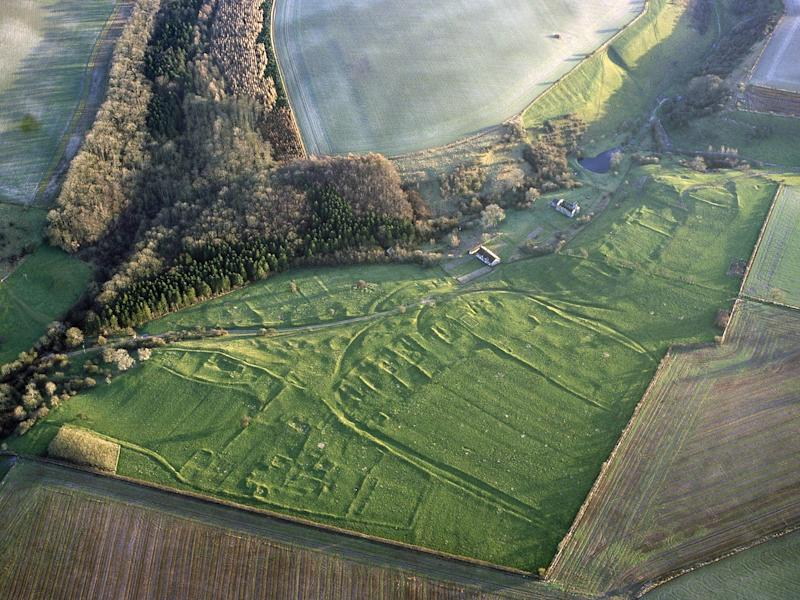 Aerial view of the abononed Yorkshire village of Wharram Percy, where bones have been excavated with evidence of post-death smashing with axes and burning: Pete Horne/Historic England/PA Wire
