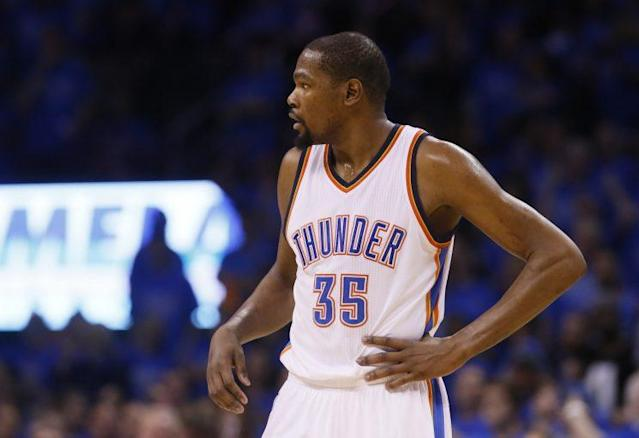 """<a class=""""link rapid-noclick-resp"""" href=""""/nba/players/4244/"""" data-ylk=""""slk:Kevin Durant"""">Kevin Durant</a> changed the landscape of the league. (AP)"""