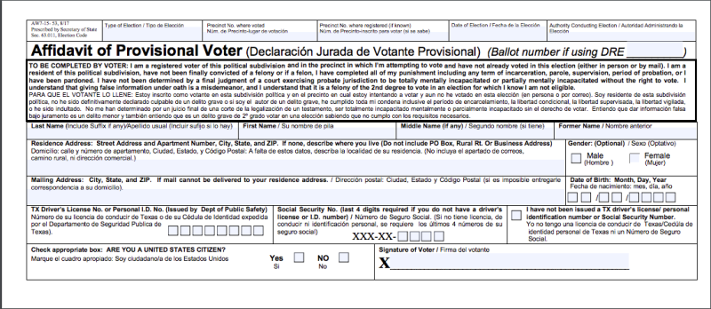 A Texas judge argued that Crystal Mason would have known she was ineligible to vote in the 2016 election because she signed this affidavit. Mason's lawyer says she never read it and had no idea she was ineligible. (Texas Department of State)