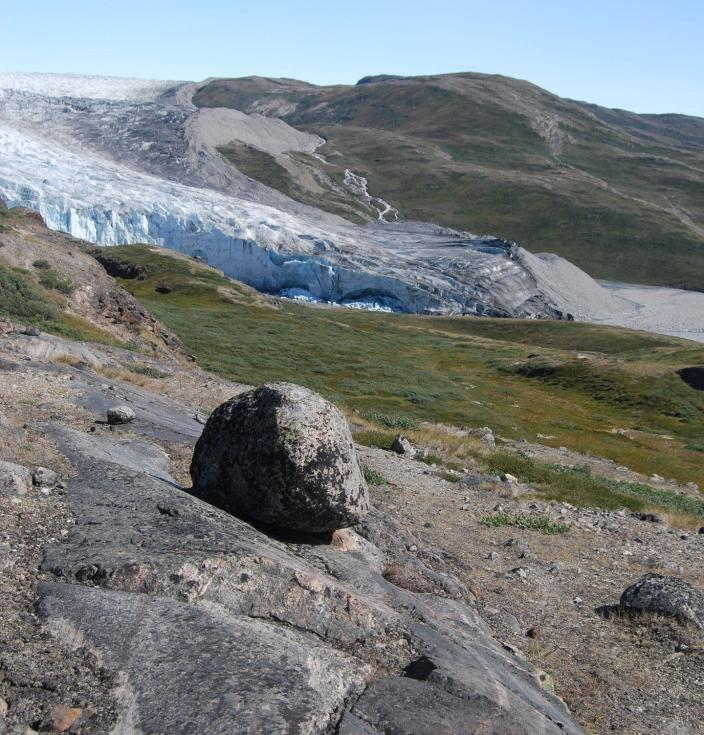 A rock and tundra with a glacier in the background