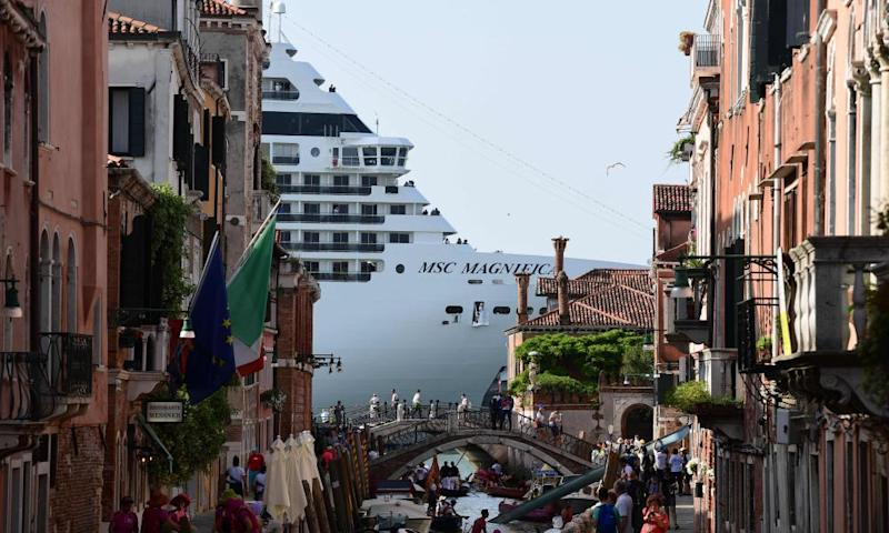 A cruise ship seen from one of the canals leading into the Venice Lagoon in June, 2019.