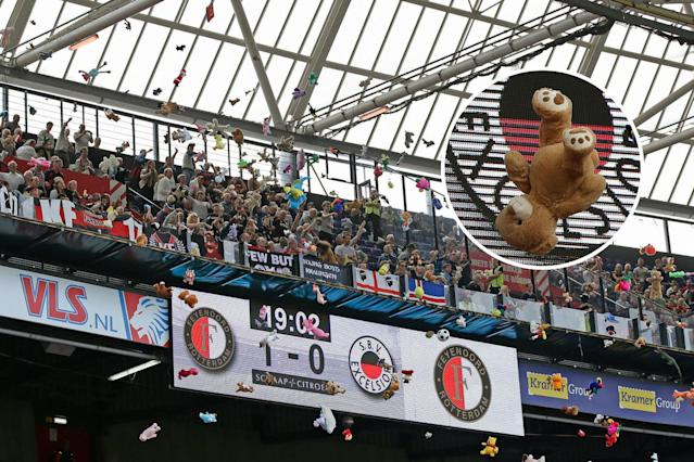 Excelsior fans shower children from a local hospital with cuddly toys
