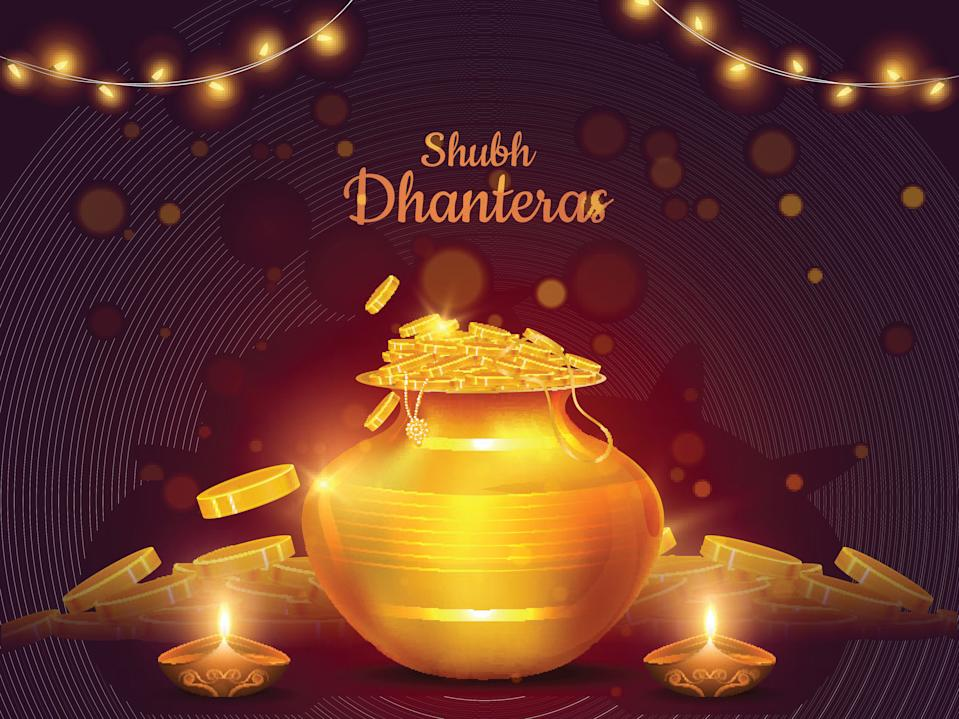 Shubh (Happy) Dhanteras festival card or poster design with illustration of golden coins pot and illuminated oil lamp (Diya) on brown bokeh blurred background.