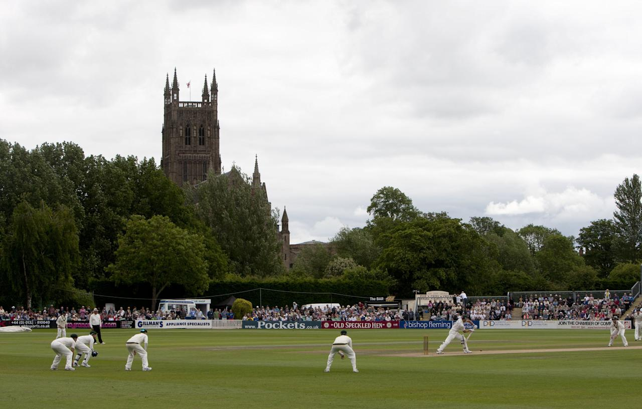 A general view as Worcestershire bat during day two of the International Warm up match at New Road, Worcester.
