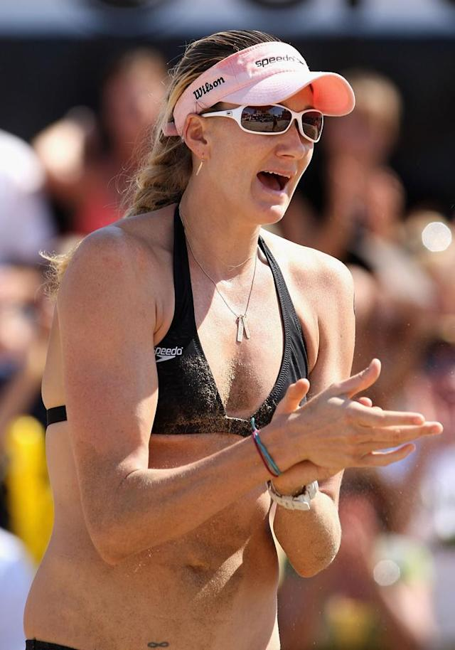 Kerri Walsh of USA celebrates a point during the gold medal match against Brazil in the AVP Crocs Tour World Challenge at the Westgate City Center on September 27, 2009 in Glendale, Arizona. Juliana Felisberta Silva and Larissa Franca defeated Misty May-Treanor and Kerri Walsh 21-11, 21-16.