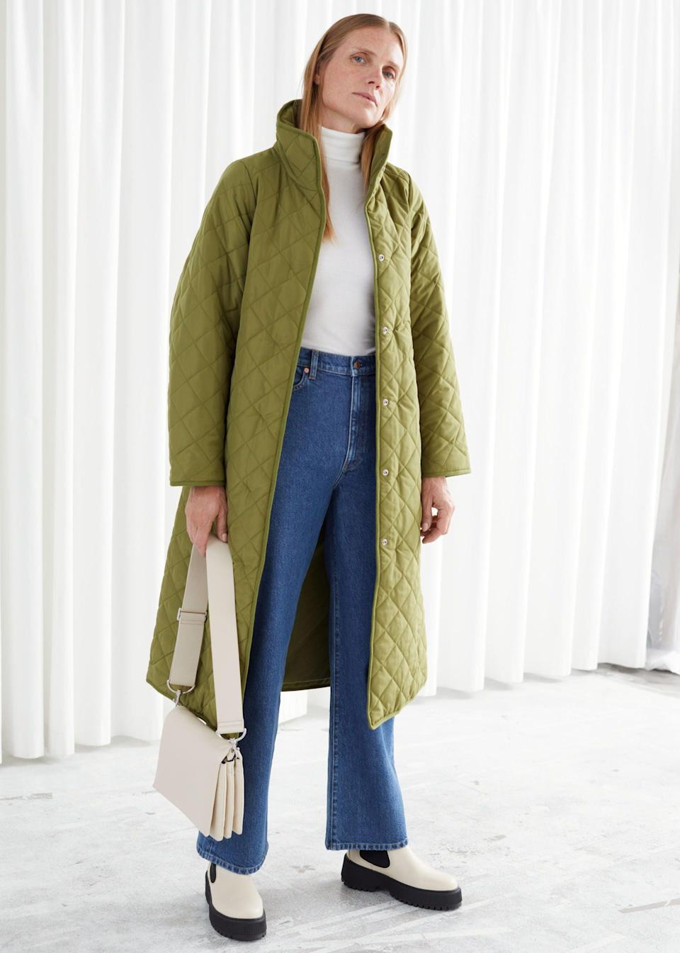 """<br><br><strong>& Other Stories</strong> Belted Quilted Coat, $, available at <a href=""""https://www.stories.com/en_gbp/clothing/jackets-coats/product.belted-quilted-coat-green.0910907002.html"""" rel=""""nofollow noopener"""" target=""""_blank"""" data-ylk=""""slk:& Other Stories"""" class=""""link rapid-noclick-resp"""">& Other Stories</a>"""