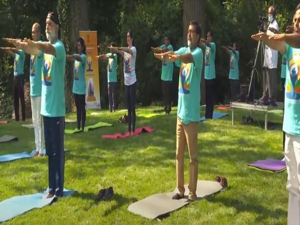 Yoga enthusiasts at an event organised by the Indian embassy in the US to mark the International Day of Yoga.