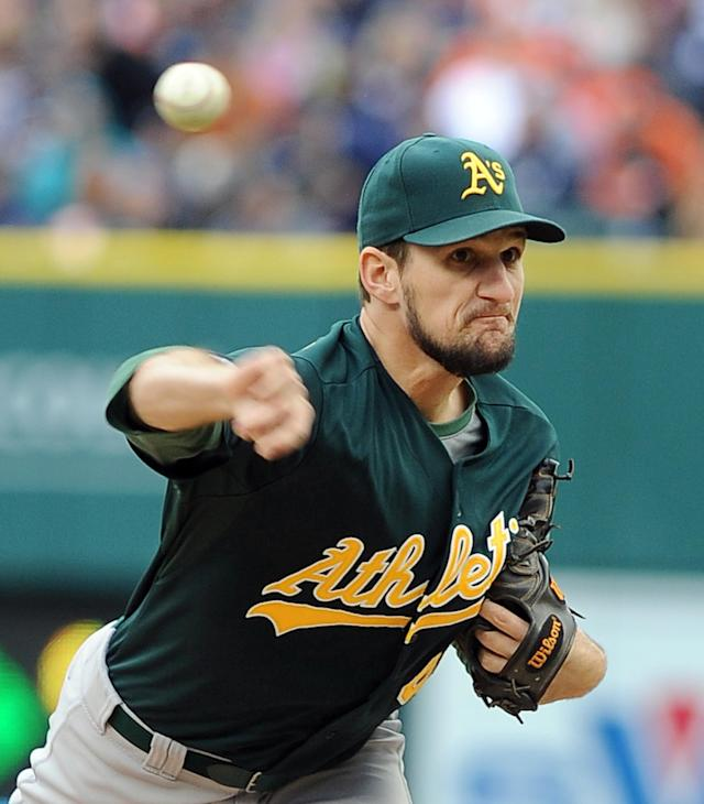 Oakland Athletics relief pitcher Dan Otero throws during the sixth inning of Game 3 of an American League baseball division series against the Detroit Tigers in Detroit, Monday, Oct. 7, 2013. (AP Photo/Lon Horwedel)