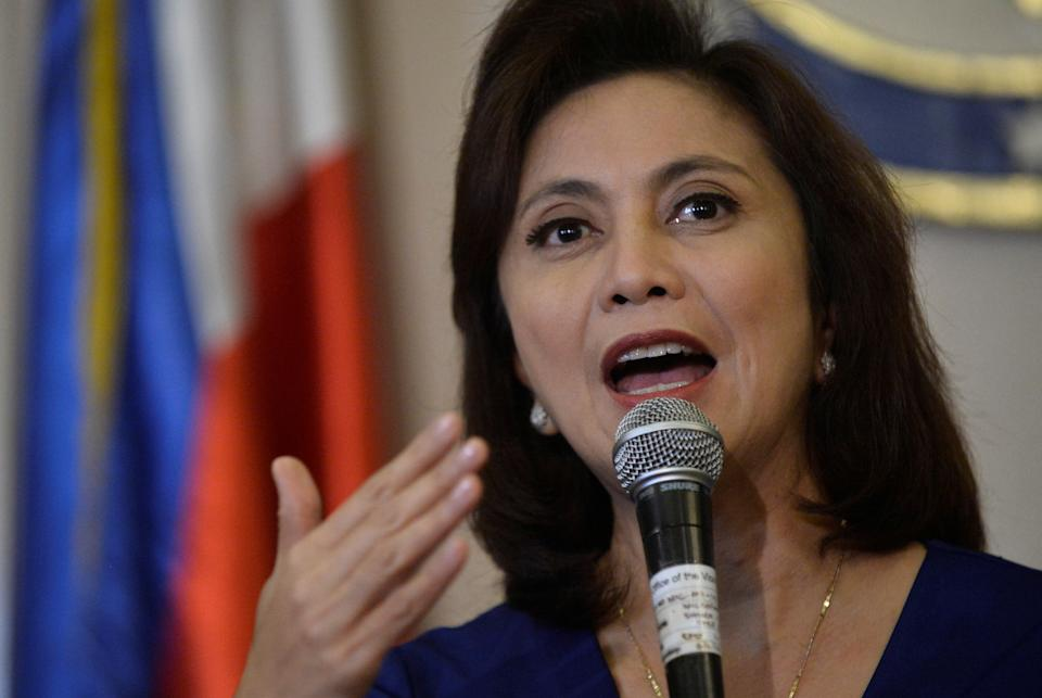 FILE PHOTO: Vice President Leni Robredo speaks during a news conference following her resignation from her post in President Rodrigo Duterte's cabinet, at the Quezon City Reception House, Metro Manila, Philippines December 5, 2016. (Source: REUTERS/Ezra Acayan)