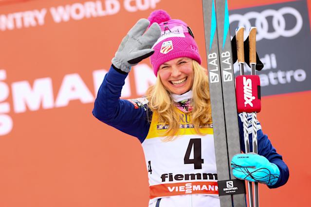 <p>Jessica Diggins of USA takes 3rd place during the FIS Nordic World Cup Women's CC 9 km F Tour de ski on January 7, 2018 in Val di Fiemme, Italy. (Photo by Laurent Salino/Agence Zoom/Getty Images) </p>