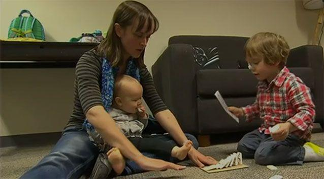 Neralie Cain, pictured with her two children, says getting kids to sleep is tough. Photo: 7 News