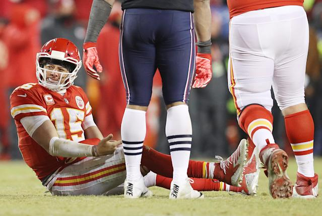Patrick Mahomes showed his star power in the second half against the Patriots, although it wasn't enough to get the Chiefs to their first Super Bowl since 1970. (Getty Images)