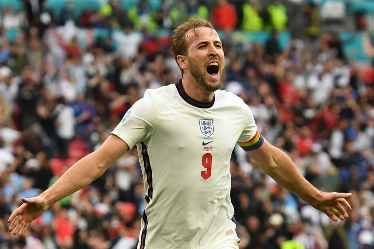 Harry Kane celebrates his goal against Germany in the Euro 2020 last-16 match at Wembley