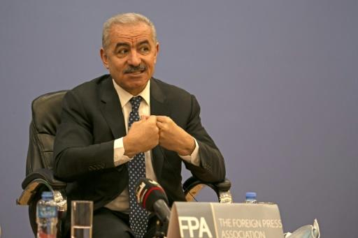 Palestinian Prime Minister Mohammed Shtayyeh addresses journalists during a press conference in the West Bank city of Ramallah