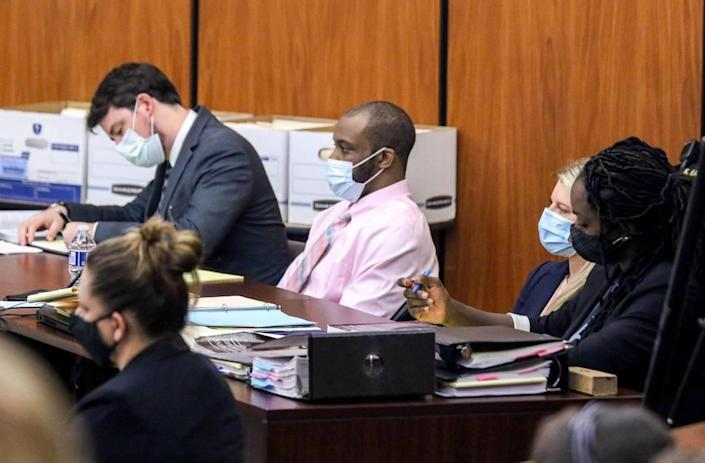 Nathaniel Rowland sits between his attorneys, Robert Pillinger, left, Alicia Goode and Tracy Pinnock during his trial on Friday, July 23, 2021 in Richland County Circuit Court. Rowland is accused of killing Samantha Josephson after luring her into his car.