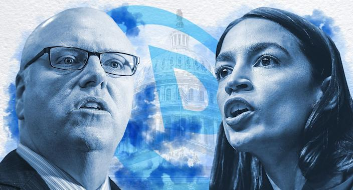 Former Rep. Joseph Crowley and Rep. Alexandria Ocasio-Cortez. (Photo illustration: Yahoo News; photos: AP, Getty Images)