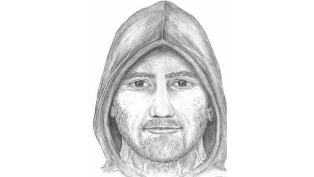 Coquitlam RCMP is looking for a man who allegedly sexually assaulted a teen on Monday morning. He is described as a 35- to 45-year-old man with tan skin, bushy eyebrows, and a stubble. He was last seen wearing a black hoodie with an orange front, dark sweatpants, running shoes and a large silver ring on his left palm. (Coquitlam RCMP - image credit)