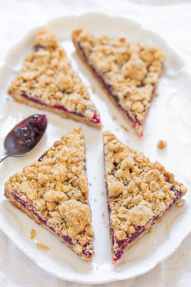 "<strong>Get the recipe for <a href=""https://www.averiecooks.com/2016/11/cranberry-oatmeal-crumble-bars.html"" target=""_blank"">Cranberry Oatmeal Crumble Bars</a> from Averie Cooks</strong>"
