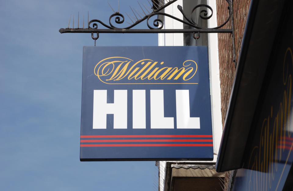 York, England - April 17, 2011: Sign of William Hill bookmakers in York. William Hill is one of the largest bookmakers in the UK.