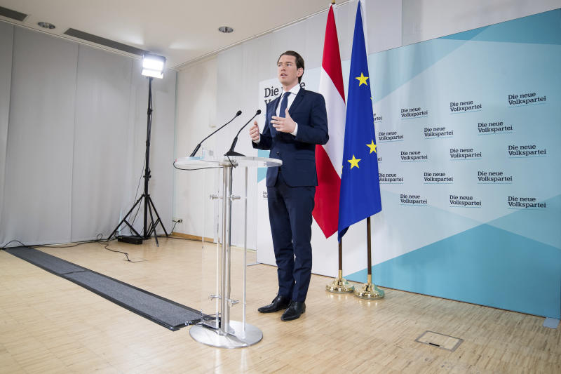 Austrian Chancellor Sebastian Kurz, of the Austrian People's Party, OEVP, addresses the media during a news conference in Vienna, Austria, Monday, May 20, 2019. Austrian Chancellor Sebastian Kurz has called for an early election after the resignation of his vice chancellor Heinz-Christian Strache from the Freedom Party spelled an end to his governing coalition. (AP Photo/Michael Gruber)