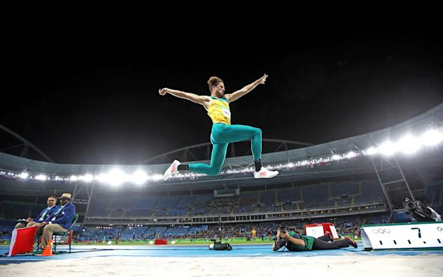 <p>Henry Frayne of Australia competes in the Men's Long Jump Qualifying Round on Day 7 of the Rio 2016 Olympic Games at the Olympic Stadium on August 12, 2016 in Rio de Janeiro, Brazil. (Photo by Cameron Spencer/Getty Images) </p>