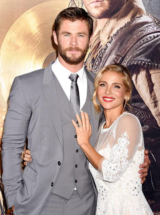 Actress Elsa Pataky knows she can lean on the physique of her husband, Chris Hemsworth. (Photo: Jeffrey Mayer/WireImage)