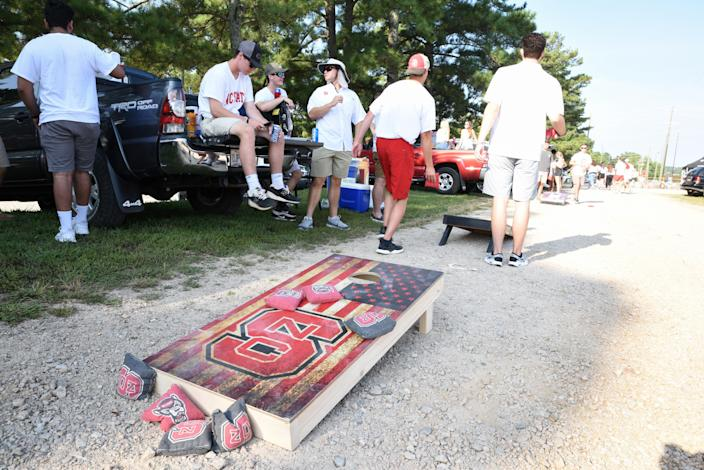 North Carolina State Wolfpack fans tailgate prior to a college football game between NC State and Georgia State on Sept. 08, 2018. (Michael Berg/Icon Sportswire via Getty Images)