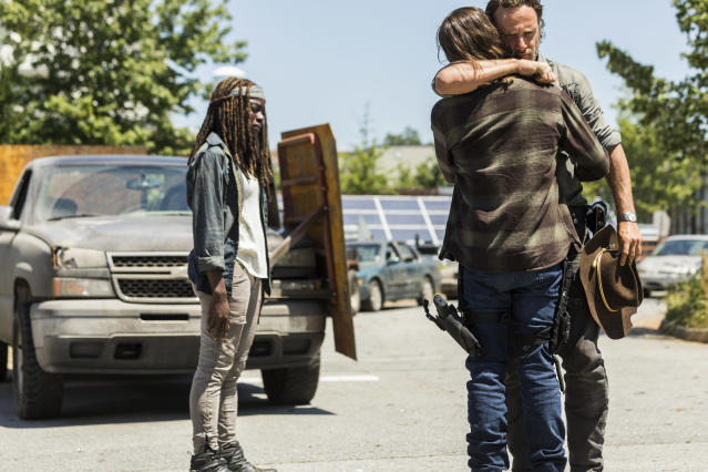 <p>Andrew Lincoln as Rick Grimes, Chandler Riggs as Carl Grimes, and Danai Gurira as Michonne in AMC's <i>The Walking Dead</i>.<br>(Photo: Jackson Lee Davis/AMC) </p>