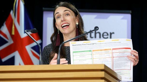PHOTO: New Zealand Prime Minister Jacinda Ardern speaks during a press conference at Parliament in Wellington, New Zealand, on April 6, 2021, where she announced that quarantine-free travel with Australia will begin in less than two weeks. (Hagen Hopkins/Getty Images)