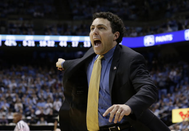 Georgia Tech head coach Josh Pastner reacts during the second half of an NCAA college basketball game against North Carolina in Chapel Hill, N.C., Saturday, Jan. 20, 2018. North Carolina won 80-66. (AP Photo/Gerry Broome)